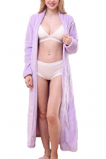 Relaxed Fit Maxi Length Soft Robe with Waist Tie