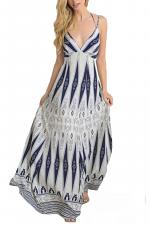 Long Maxi Dress with Art Deco Pattern