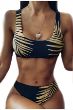 2 Piece Palm Leaf Swimsuit
