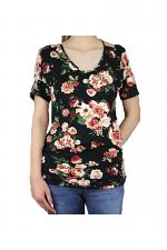 Flower Print Short Sleeve Top in Black