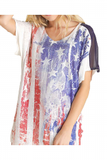 Short Sleeve Top With Flag Graphic