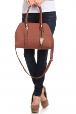 Large Tote with Leaf Key Fob Accent