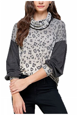Ombre Leopard Top with Face Covering