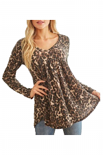 Animal Print V-Neck Longsleeve Top