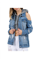 Denim Destroyed Cold Shoulder Jacket