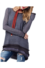 Long Sleeve Light Sweater With Layered Bottom in Blue Grey