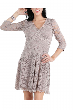 V-Neck Fit & Flare Lace Dress in Mocha