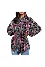 Border Print Button Down Puff Sleeve Tunic Shirt