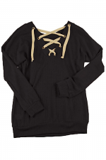 Reversible Knit Sweater With String in Black