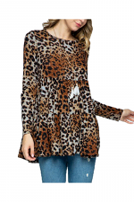 Animal Print Peplum Long Sleeve Top
