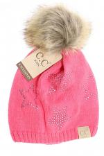 Kids Rhinestone Star Fur Pom