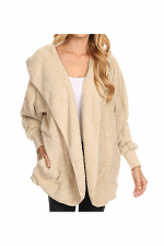 Fuzzy Faux Fur Jacket in Tan