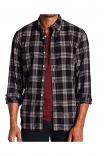 Jimmy Long Sleeve Herringbone Woven Shirt in Night Shade