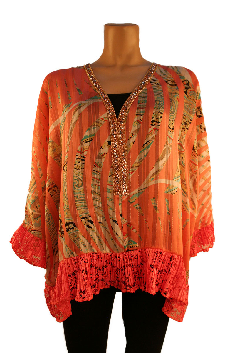 Print Top with Diamond Lace Neck
