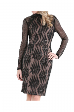 Sequin & Embroidered Long Sleeve Dress in Black