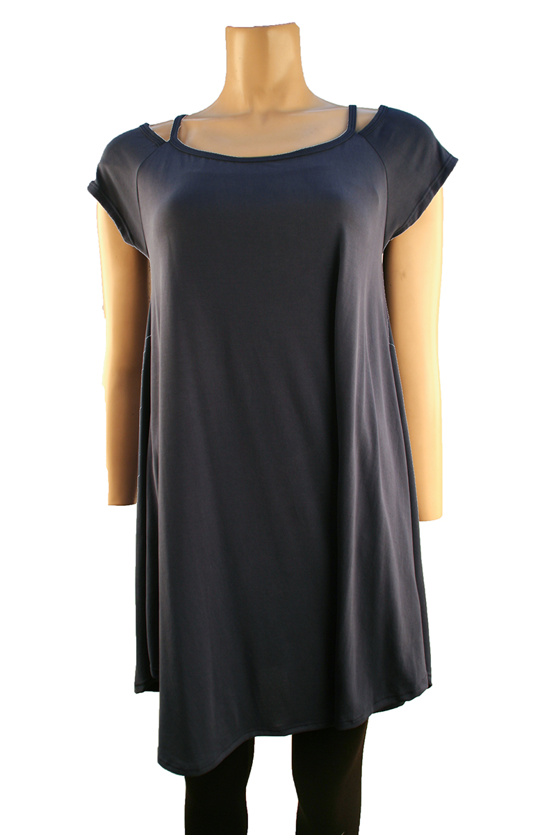 Short Sleeve Off Shoulder Top in Navy