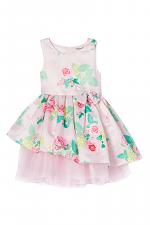 Light Pink & Green Floral Layered Tutu Dress