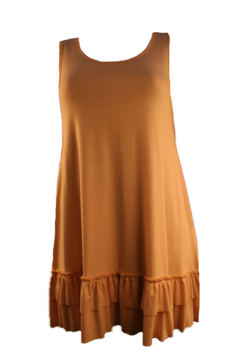 Sleeveless Double Ruffle Tunic in Tan