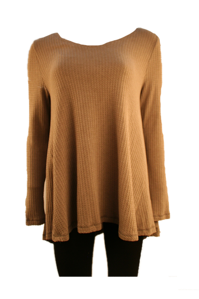 Long Sleeve Waffle Deep V-Neck Tunic