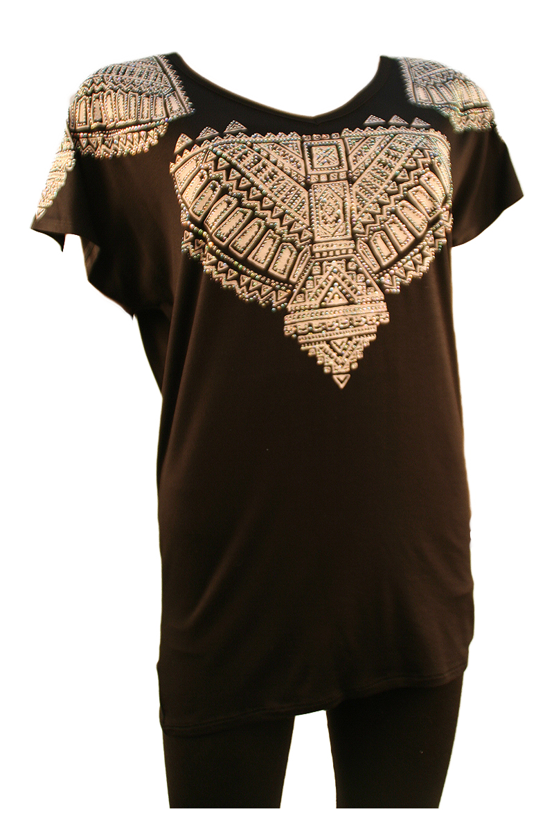 Short Sleeve V-Neck with Stoned Shoulders