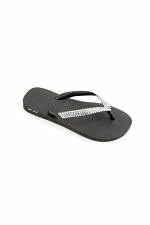 Black Flip Flop with Clear Crystals