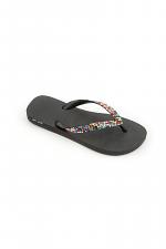 Black Flip Flop with Confetti Crystal Design