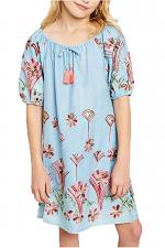 Girls Denim Embroidered Shirt Dress