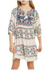 Girls Tribal Tassel & Tie Babydoll Dress