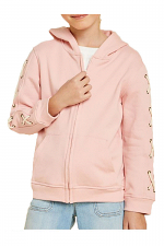 Girls Lace-Up Hoodie Jacket