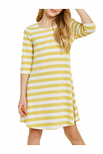 Girls Button-Down Cross- Back Stripe Dress