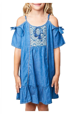 Girls Tie Sleeve Denim Dress