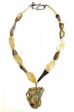 Quartz & Pearl Necklace with Geode Pendant
