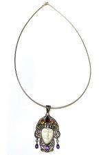 Semi Precious Stone Face Necklace