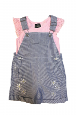 2 Piece Striped Overall Set