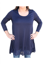 Kit Pullover With Lace Detail in Navy