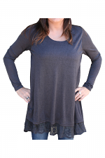Kit Pullover With Lace Detail in Dark Grey
