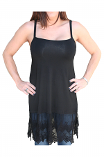 Lace Long Camisole in Black