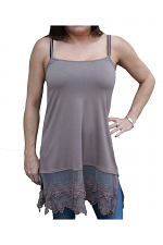 Lace Long Camisole in Tan