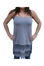 Lace Long Camisole in Grey