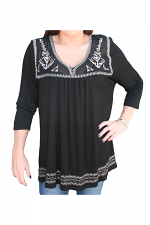 Embroidered Top With Sheer Neckline in Black