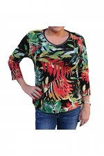3/4 Sleeve Tropics Print Top in Black