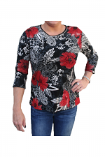 3/4 Sleeve Perennials Printed Top in Black