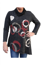 Orbitz Mineral Wash Cowl Tunic in Black