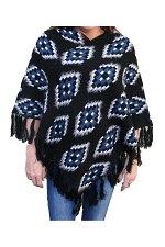 Pembina Eyelash Knit Poncho in Black