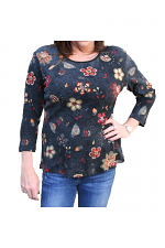 3/4 Sleeve Flowerfield in Black