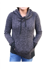 Cowl Neck Hoodie With Pockets in Charcoal
