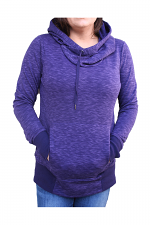 Cowl Neck Hoodie With Pockets in Purple