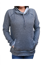 Cowl Neck Pullover With Pockets in Charcoal