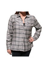 Plaid Shirt With Button Back in Taupe