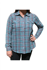 Plaid Top With Packets in Turquoise